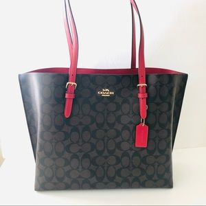 Coach Mollie Tote Signature Brown Large Red Purse